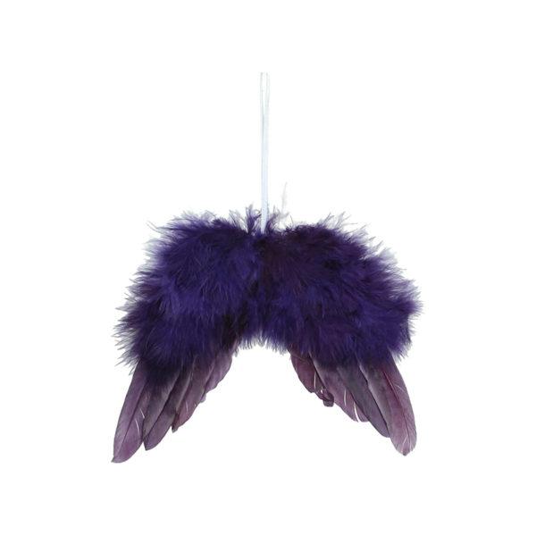 Κρεμαστό Στολίδι Με Φτερά Αγγέλου Μωβ Πουπουλένια S