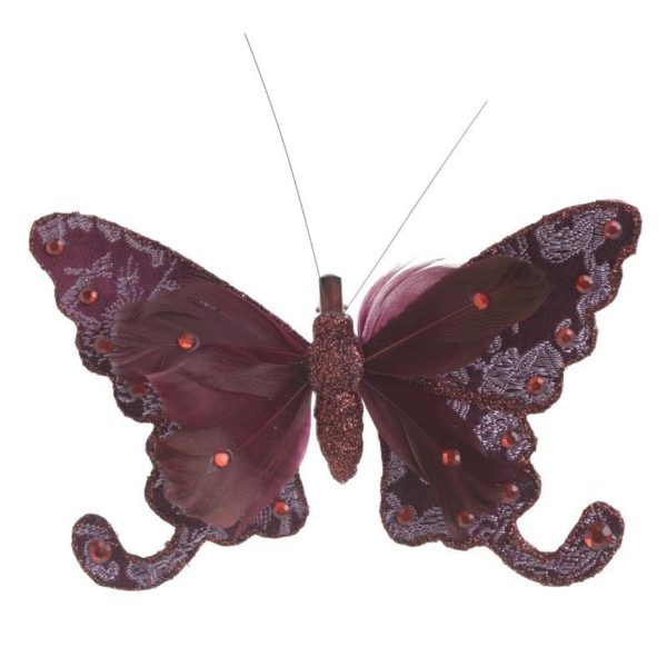 Κρεμαστό Στολίδι Πεταλούδα Μωβ/ Μπορντώ, Σετ Των 2