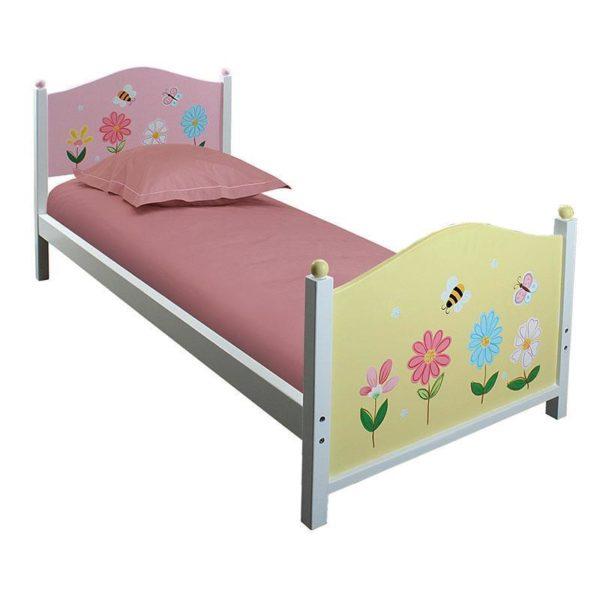 Κρεβάτι Παιδικό Μονό Ξύλινο, Ροζ Λουλούδι
