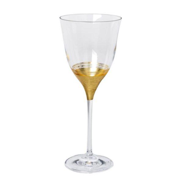 Κρυστάλλινο Ποτήρι Κρασιού Διακοσμημένο Με Φύλλα Χρυσού 330ml
