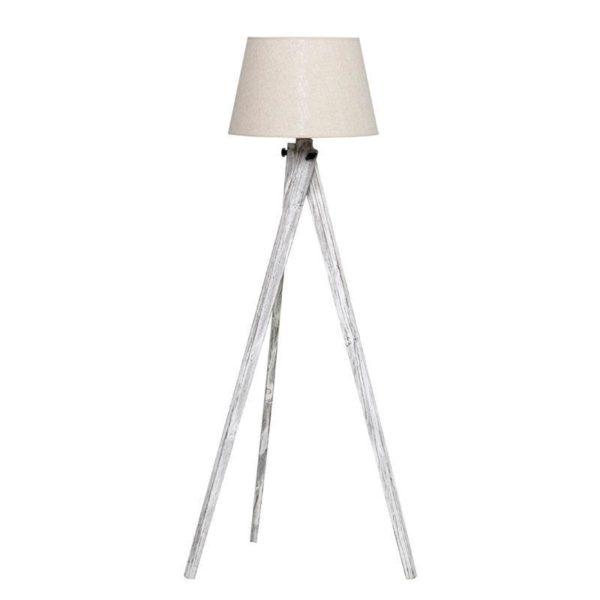 Λάμπα Επιδαπέδια Ξύλινος Τρίποδας Αντικέ Λευκό Modern