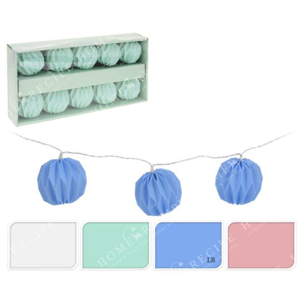 Λαμπάκια Χάρτινα Στρογγυλά Led Μπάλα Γαλάζια, 10 Τεμάχια