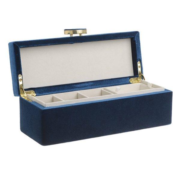 Μακρόστενη Μπιζουτιέρα Βελούδινη 'Midnight Blue' 28.5x10.5x10