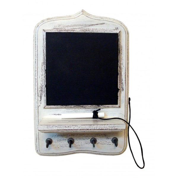 Μαυροπίνακας Ξύλινος Με Ράφι Και Κρεμάστρες 4θέσιος 19x30 Cottage White