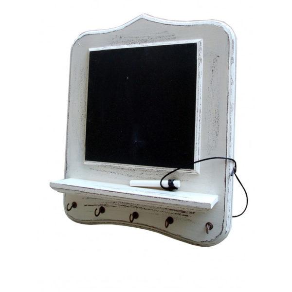 Μαυροπίνακας Ξύλινος Με Ράφι Και Κρεμάστρες 5θέσιος 30x36 Cottage White