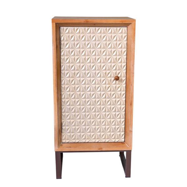 Ντουλάπι Ξύλινο Natural Με Λευκή Πόρτα Ανάγλυφα Σχέδια Μ45 Υ93
