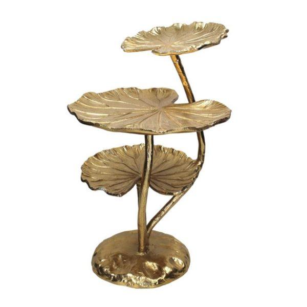 Ορντερβιέρα Αλλουμινίου Αντικέ Χρυσό 'Triple Water Lily' | ZAROS