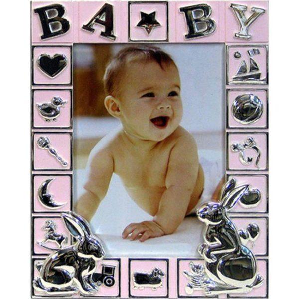 Παιδική Επιτραπέζια Κορνίζα Επάργυρη ''Ασημί Λαγουδάκια'' Ροζ Για 13x18