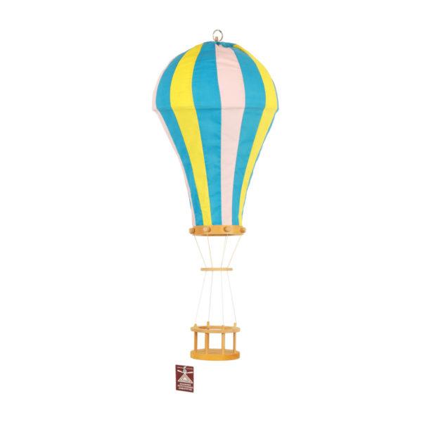 Παιδικό Φωτιστικό Αερόστατο, Χειροποίητο Υφασμάτινο Μπλε/ Κίτρινο/ Ροζ