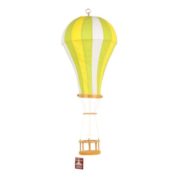 Παιδικό Φωτιστικό Αερόστατο, Χειροποίητο Υφασμάτινο Πράσινο/ Κίτρινο/ Λευκό