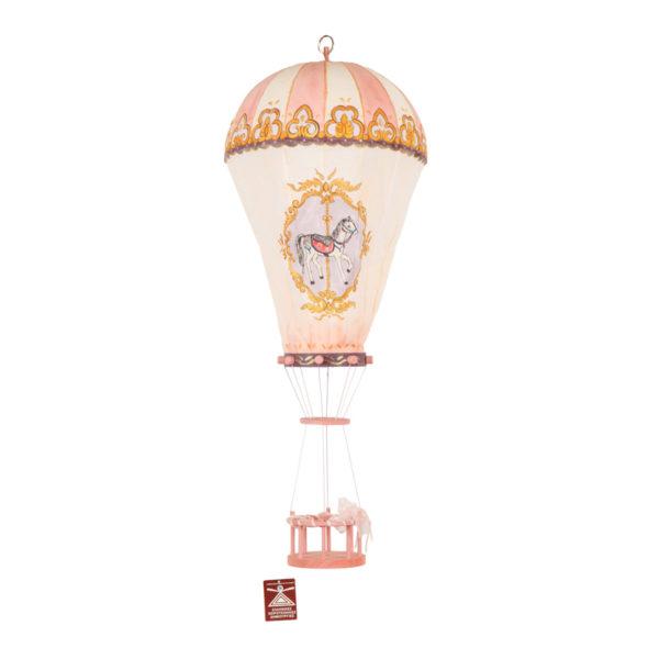 Παιδικό Φωτιστικό Αερόστατο, Χειροποίητο Υφασμάτινο Ροζ/ Λευκό Με Ζωγραφική 'Καρουζέλ'