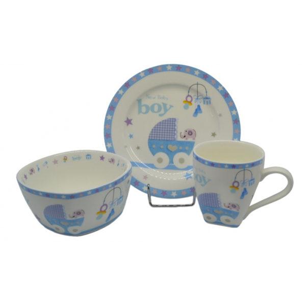 Παιδικό Σετ Πρωινού 3 Τεμαχίων Πορσελάνινο Γαλάζιο, Boy