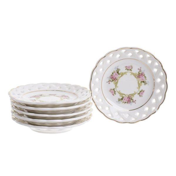 Πιατάκια Γλυκού Πορσελάνινα Λεύκα 'Fleurs', Σετ Των 6