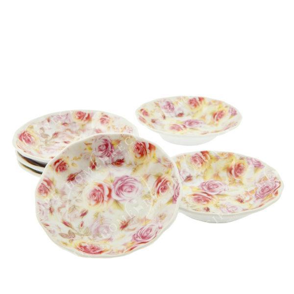 Πιατάκια Γλυκού Πορσελάνινα Πολύχρωμα Τριαντάφυλλα, Σετ Των 6