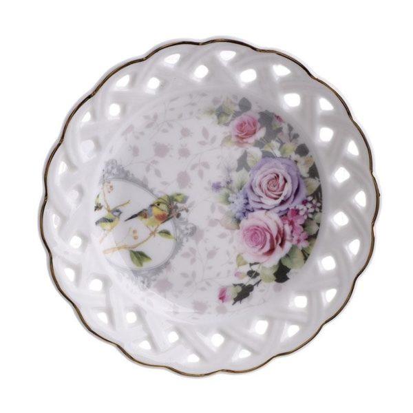 Πιατάκια Γλυκού Πορσελάνινα 'Purple Roses', Σετ Των 6