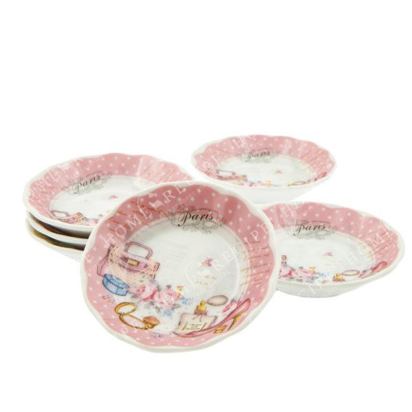 Πιατάκια Γλυκού Πορσελάνινα Ροζ Πουά ''Paris'', Σετ Των 6