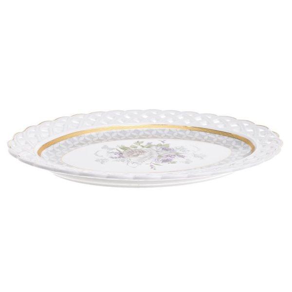 Πιατέλα Πορσελάνινη Λευκή Με Χρυσή Μπορντούρα Και Μωβ Τριαντάφυλλα 35.5x24