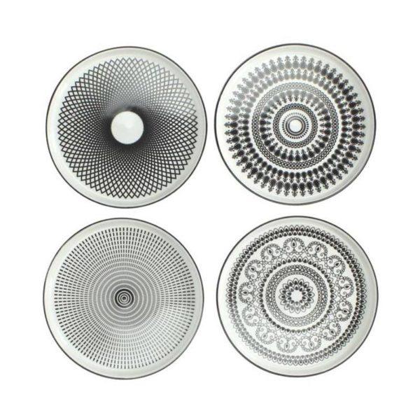 Πιατελάκια Πορσελάνινα Κυκλικά Με Ασπρόμαυρα Μοτίβα Σε 4 Σχέδια, Δ16.5