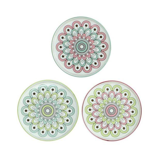 Πιατελάκια Πορσελάνινα Λευκά Με Μαργαρίτα Σιέλ/ Πράσινο/ Ροζ L, Σετ Των 3