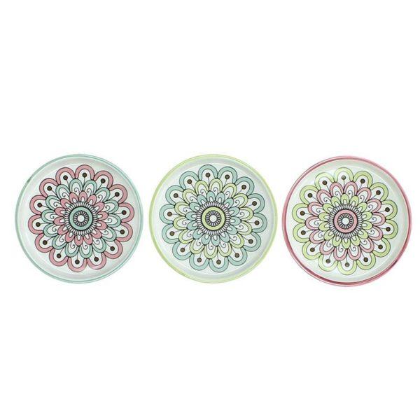 Πιατελάκια Πορσελάνινα Λευκά Με Μαργαρίτα Σιέλ/ Πράσινο/ Ροζ S, Σετ Των 3