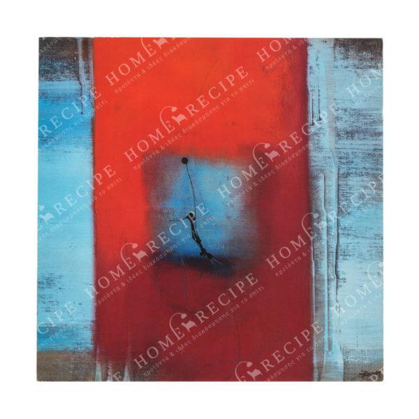 Πινακάκι Διακοσμητικό Ξύλινο Τετράγωνο Με Μοντέρνα Σύνθεση Σε Μπλέ Τόνους Α 29x29
