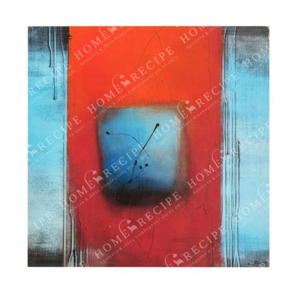 Πίνακάκι Διακοσμητικό Ξύλινο Τετράγωνο Με Μοντέρνα Σύνθεση Σε Μπλέ Τόνους Β 29x29