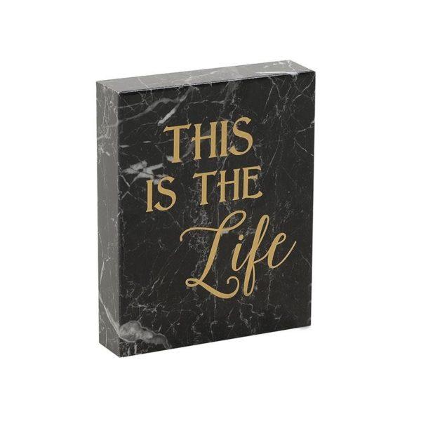 Πινακάκι 'Life' Εφέ Μαρμάρου Μαύρο 20x25