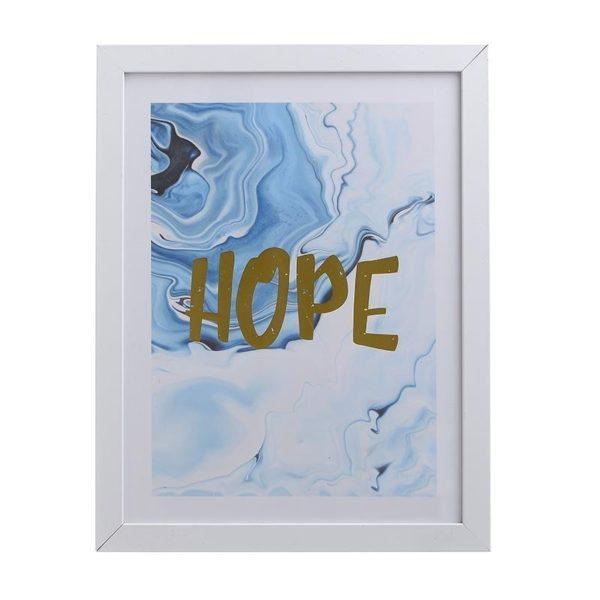"""Πινακάκι Παστέλ Λευκό/ Χρυσό """"Hope"""" 28x35.5"""