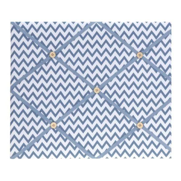 Πίνακας Ανακοινώσεων Υφασμάτινος Με Μπεζ Κουμπάκια Μπλε/ Λευκό Μοτίβο
