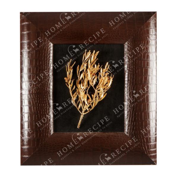 Πίνακας Χειροποίητος Σύνθεση Ελιά Χρυσή Σε Μαυρο Φόντο Με Καφέ Δερμάτινη Φαρδια Κορνίζα 49x56