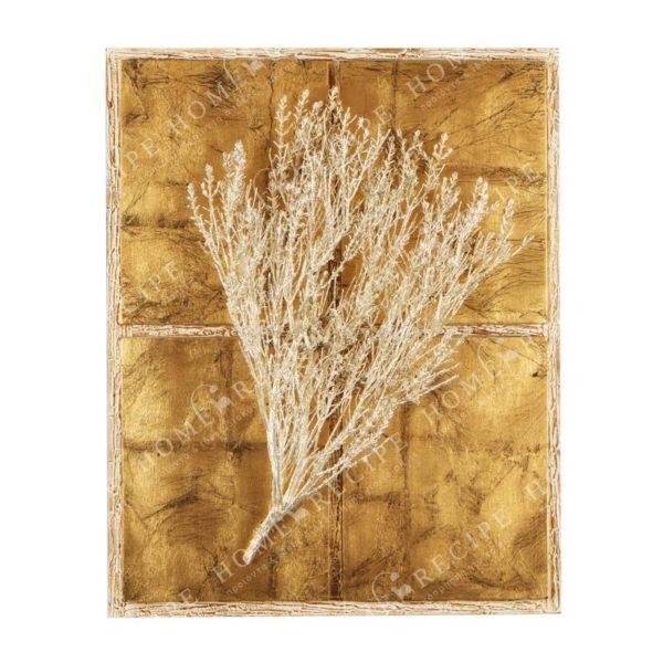 Πίνακας Χειροποίητος Σύνθεση Θυμάρι Ασημί Σε Φύλλο Χρυσού/ Μπεζ Φόντο 40x50