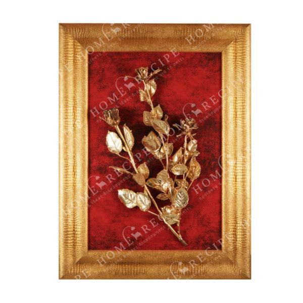 Πίνακας Χειροποίητος Σύνθεση Τριανταφυλλιά Χρυσή Σε Κόκκινο Φόντο Με Χρυσή Φαρδια Κορνίζα 60x80