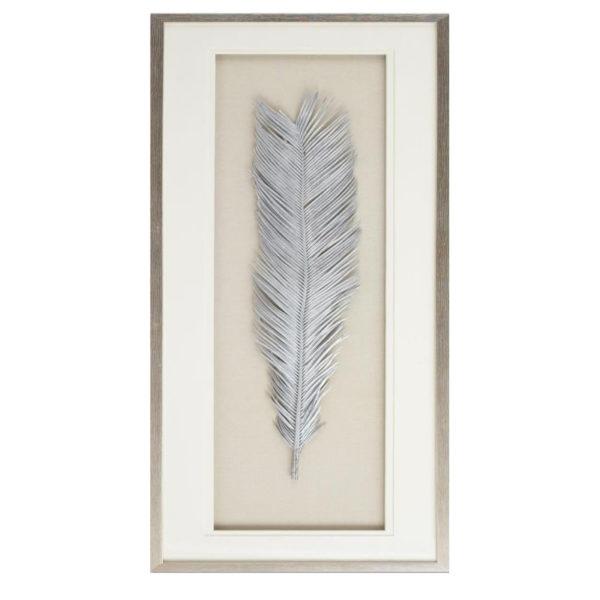 Πίνακας Με Τρισδιάστατο Διακοσμητικό Σε Ασημί Κορνίζα 'Ασημί Φτερό' 40x120