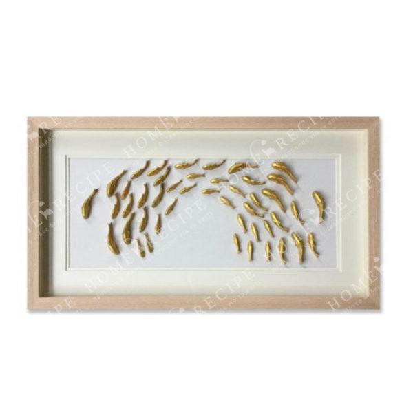 Πίνακας Με Τρισδιάστατο Διακοσμητικό Σε Natural Κορνίζα 'Χρυσά Ψάρια' 42x82