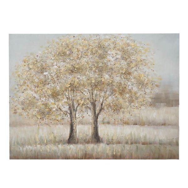 Πίνακας Σε Καμβά Beige/ Χρυσό 'Δέντρα Σε Λιβάδι' Μ120 Υ90