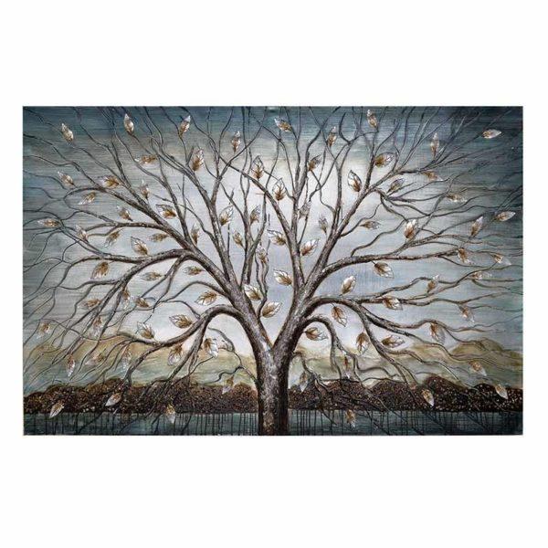 Πίνακας Σε Καμβά 'Δέντρο' Με Ανάγλυφα Μεταλλικά Στοιχεία Σε Βεραμάν/ Μπρονζέ Ιριδίζον Φόντο Μ150 Υ100