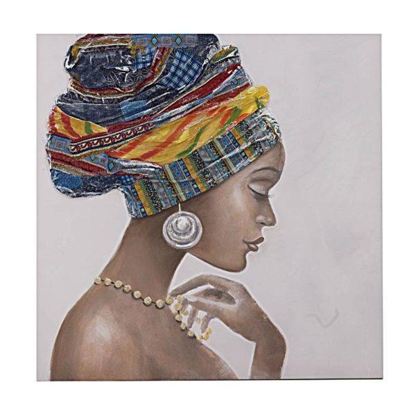 Πίνακας Σε Καμβά Γυναικεία Φιγούρα 'Africa' Με Ύφασμα 3D 100x100