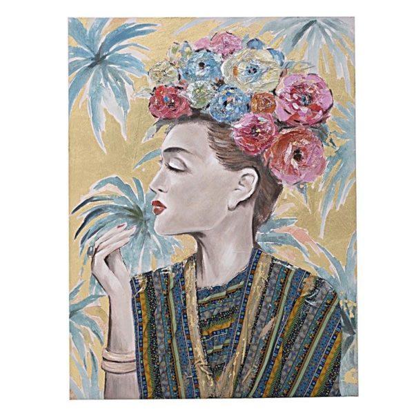 Πίνακας Σε Καμβά Γυναικεία Φιγούρα 'Frida' Πολύχρωμος 80x100