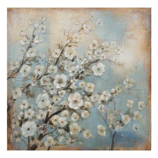 """Πίνακας Σε Καμβά """"Λευκή Αμυγδαλιά Σε Γαλάζια Φόντο"""" 80x80"""