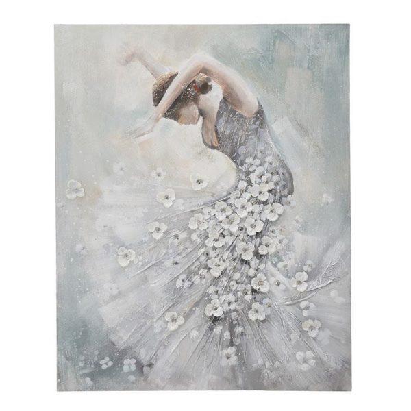 Πίνακας Σε Καμβά Λευκό/ Ασημί 'Λευκά Άνθη Σε Χόρο' Μ80 Υ100
