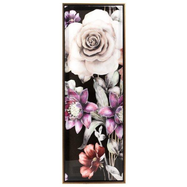Πίνακας Σε Καμβά Ορθογώνιος Με Μοτίβα Λουλουδιών 30x90, Α  Inart