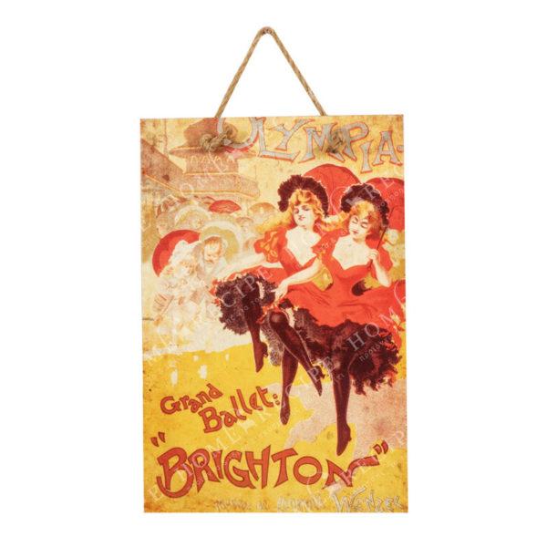 """Πίνακας Ξύλινος Vintage """"Moulin Rouge"""" 25x3.5x60"""