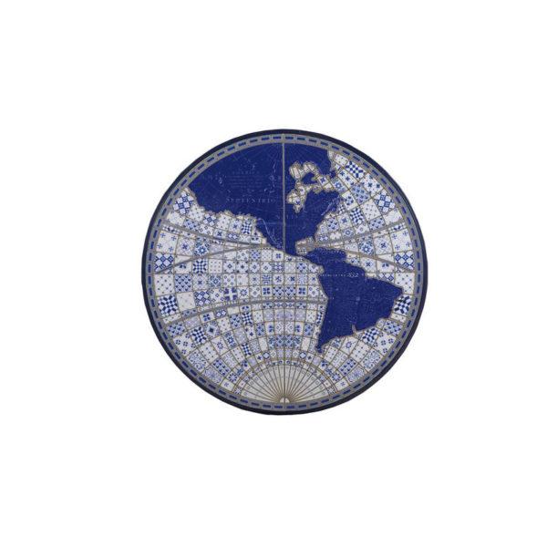 Πίνακας Ξύλόγλυπτος / Πλακάκι Στρογγυλός Λευκό/ Μπλε 'Αριστερό Ημισφαίριο' Δ122