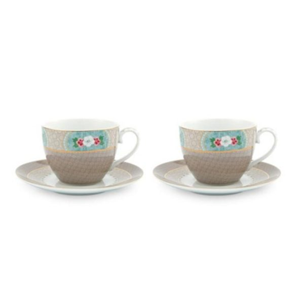 PIP Φλυτζάνια Και Πιατάκια Capuccino 'Blushing Birds' Χακί 280ml, Σετ Των 2