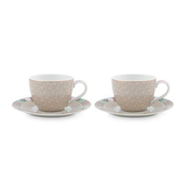 PIP Φλυτζάνια Και Πιατάκια Espresso 'Blushing Birds' Χακί 120ml, Σετ Των 2
