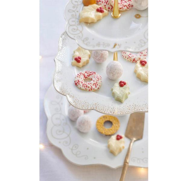 PIP Ορντερβριέρα 3θέσια Λευκή Με Χρυσές Λεπτομέρειες 'Royal Christmas'