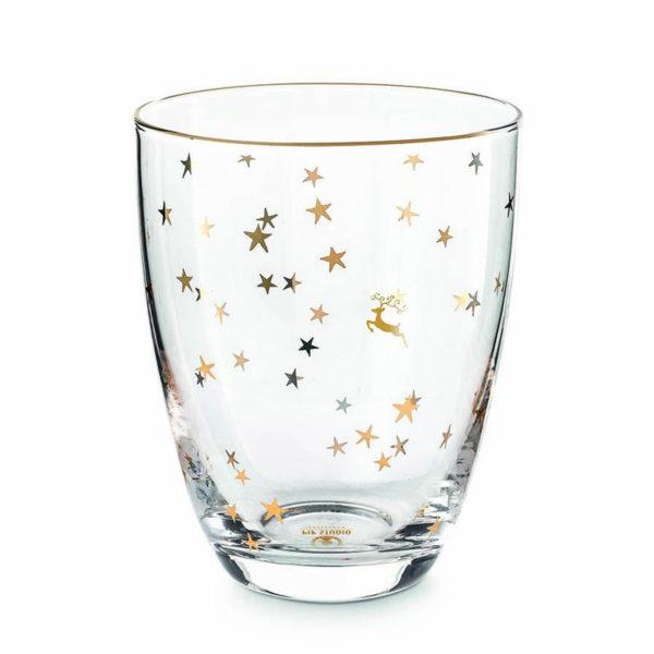 PIP Ποτήρι Νερού Με Χρυσά Αστεράκια 'Royal Christmas