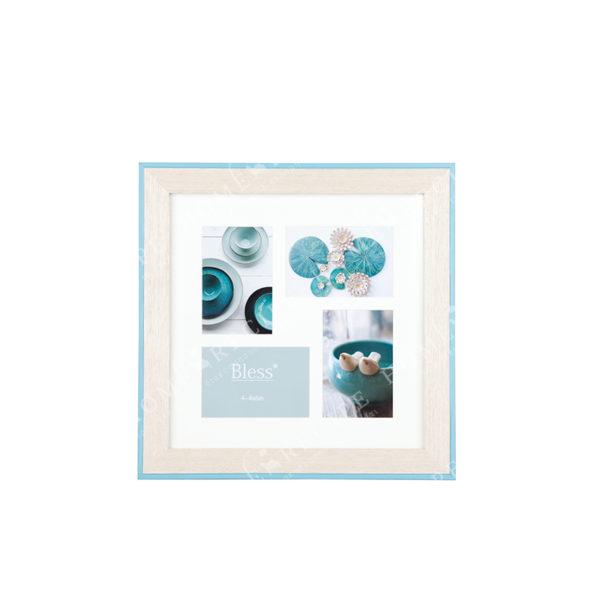 Πολυκορνίζα Ξύλινη 4θέσια Μπεζ Με Γαλάζιο Ρέλι Για 10x15