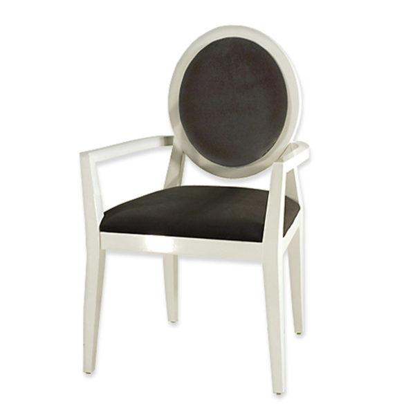 """Πολυθρόνα  ''Louis"""" Ξύλινη Λευκή Λακαριστή Με Μαύρο Βελούδο"""