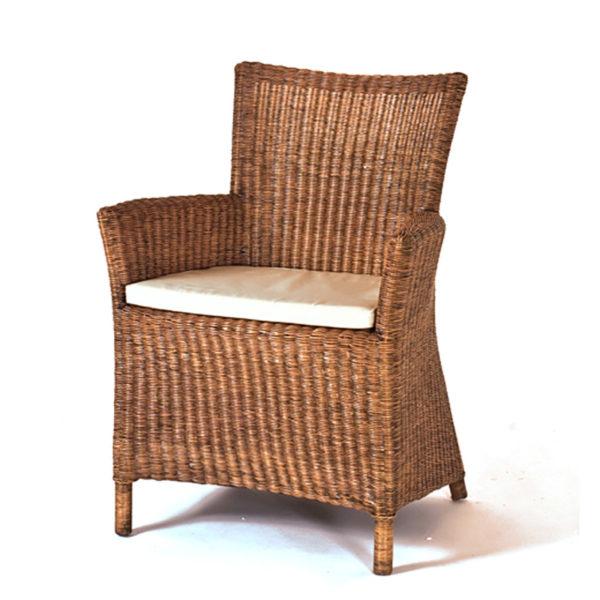 Πολυθρόνα Ρατάν Καφέ Με Μαξιλάρι